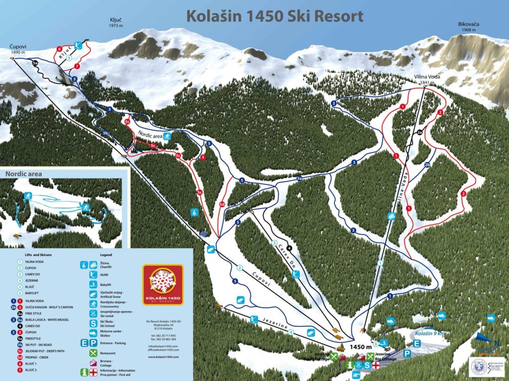 Kolašin 1450 Ski Resort Map
